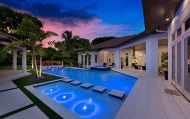 Lykos residential remodel - Pool night view