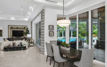 Lykos residential remodel - Dining room and living room view