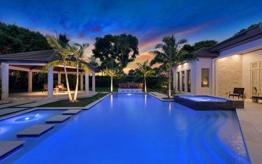 Lykos residential remodel - Pool view at night