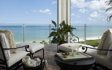 Lykos Group balcony decor with spectacular view to the ocean